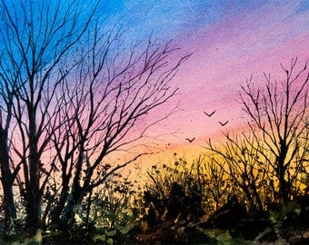 Tanglewood V, Watercolor Original Painting, Sunset Sky, Silhouette, Trees, Birds, Blue, Orange, Pink