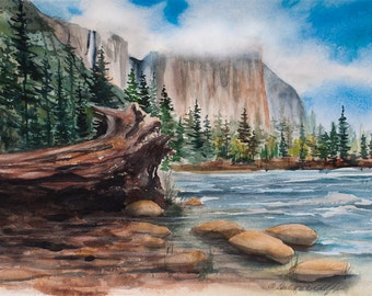 El Capitan Rising, Watercolor Original Painting,, Yosemite Valley, National Park, Merced River, Clouds, Trees