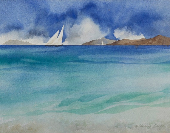 Islands II, Watercolor Print, Islands, Sailboats, Beach, Clouds, Summer day, Blue, Seascape