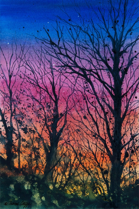Tanglewood III, Watercolor Print, Colorful Sky, Silhouette Trees, Sunset, Stars, Rose, Orange, Blue