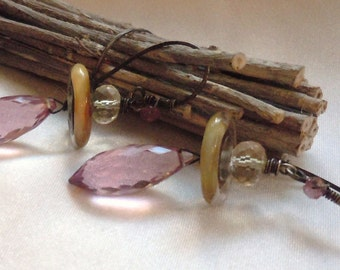 Aged Sterling Silver Earrings featuring Lampwork Beads and AAA Pink Quartz and Golden Yellow Mystic Quartz