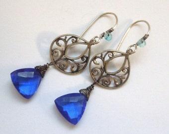 Sterling Silver Earrings featuring AAA Grade Cobalt Blue Quartz