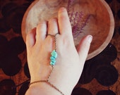 Turquoise Hand Harness In Brass