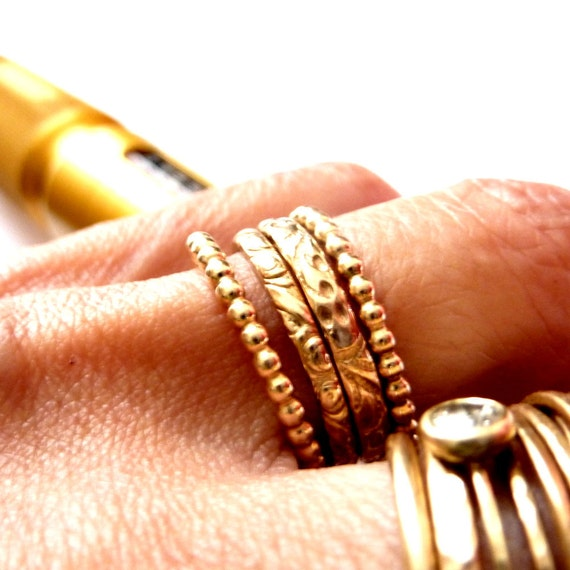 Modern Gold Stacking Rings Handmade Set Of Four - Free Shipping