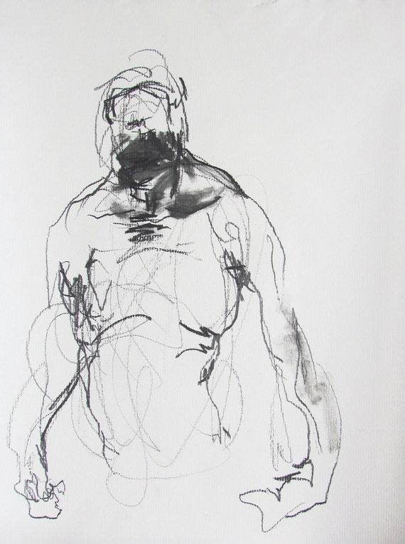 figure drawing - from life - Drawing 49 - pastel and graphite on paper - original drawing