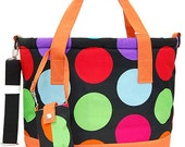 Insulated Cooler Bag  in Big Polka dots Great for the Beach, Pool Parties, Wedding gift, House Warming Gift, Girls Weekend