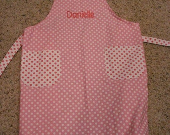 Personalized for FREE Pink and White Polka Dot Monogrammable Cotton apron 50 percent off sale