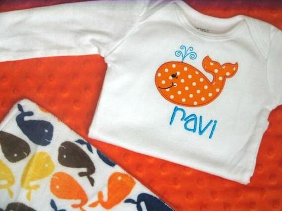 Whale Minky Lovie Blanket with Personalized Bodysuit, Baby Boy Gift Set