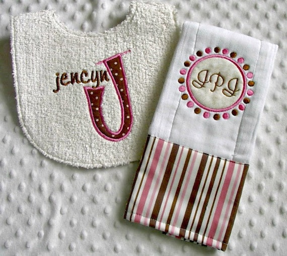 Baby Girl 2 Piece Gift Set, Personalized Bib and Burp Cloth, Pink and Brown Dots