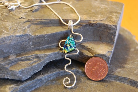 Dichroic glass pendant with sterling silver chain