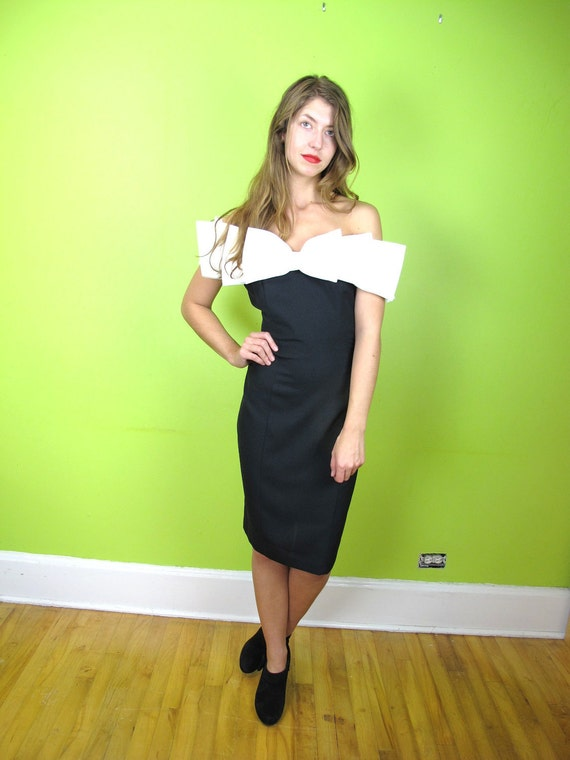 Dress 90210 Prom 1990s 1991 Black Cocktail with White Bow  M