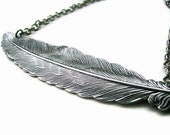 Feather Necklace  - LIGHT As A FEATHER - Antique Silver Plated - Ooak - Statement Etsy uk