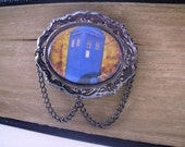 Dr Who Inspired British Police Box Hair Clip - Steampunk Styled - Who's There - black/gunmetal plated