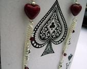 Red Hearts Swarovski Crystal n Keys Earrings Valentine - RED QUEENS - silver - red - LAST 2 pairs ever