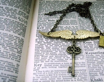 Steampunk Angel Wings, Book Locket & Key Necklace - UNLOCK YOUR DREAMS - ooak - bronze chain - Unique design by Altered Eras