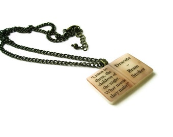 Dracula Bram Stoker Book Necklace - As seen on SkyLiving  - DRACULA - Altered Eras Literary Book Gift Etsy UK