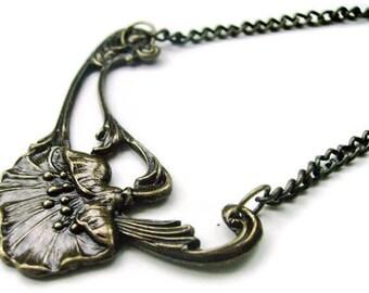 Art Nouveau Poppy Necklace - THE POPPY FIELD - Antique Bronze Plated