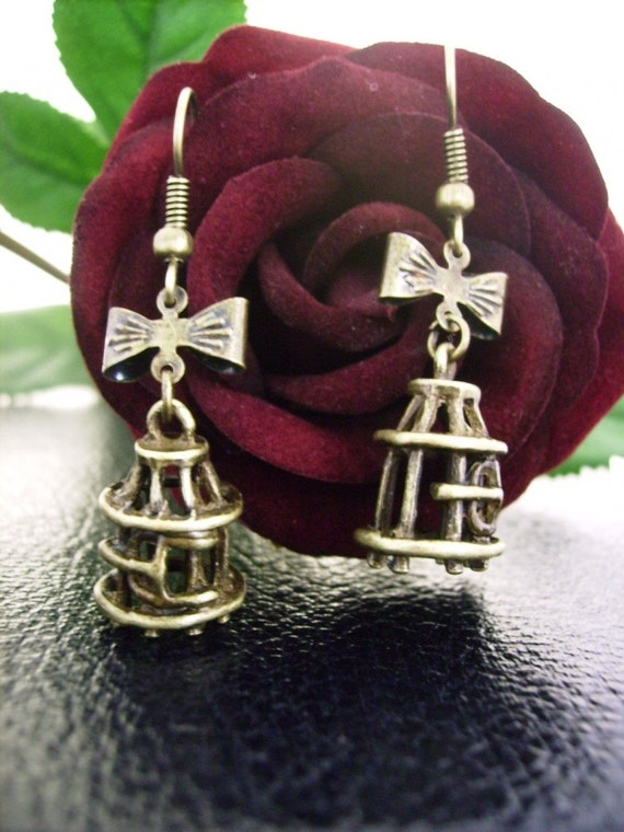 Bird Cage and Bow Earrings - Antique Bronze - Tweet Tweet and So Sweet