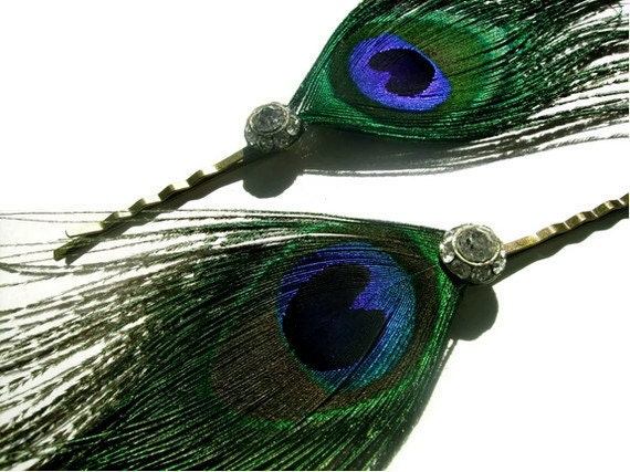 Peacock Feather Bobby Pins x 2  & Reclaimed Crystal - GLINT In HIS EYE - bridal - ooak
