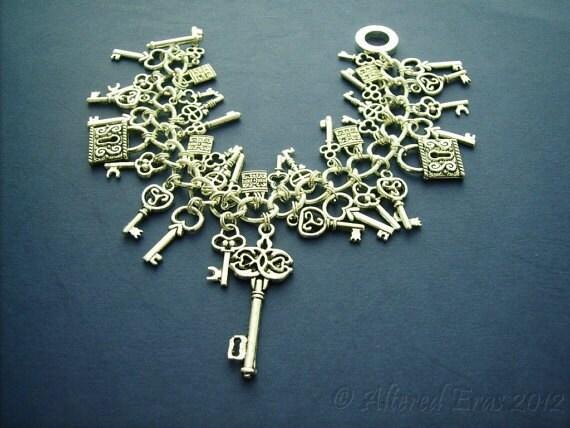 Last One - Skeleton Key Lock Charm Bracelet Steampunk Styled - Alice Wonderland - UNDER LOCK & KEY - Ltd Ed Etsy uk statement