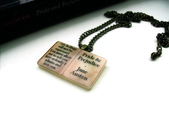 Last One - Darcy Quote Austen Book Necklace Vintage Styled - PRIDE AND PREJUDICE - Altered Eras Literary Book Gift Etsy uk