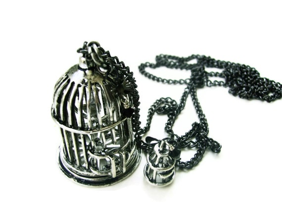 Bird Cage Long Necklace - Black Swarovski Crystals - MAKE YOUR ESCAPE - Bows - Vintage Styled - Last One - Ooak Black Friday Cyber Monday