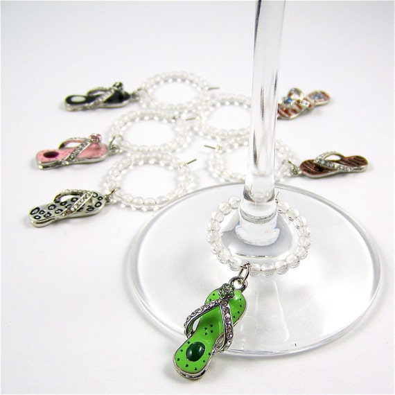 Wine Charms: Flip Flops Set of 6