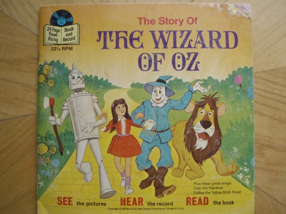 1978 The Wizard Of Oz Disney Book And Record