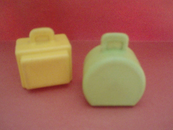 Two vintage Fisher Price Little People Suitcases Luggage