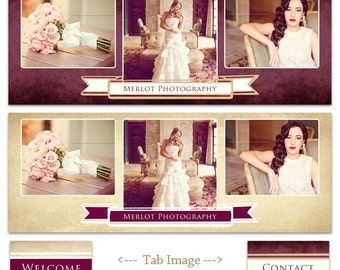 Facebook Timeline Cover Templates - 2 banners and 2 tab images - Merlot Templates