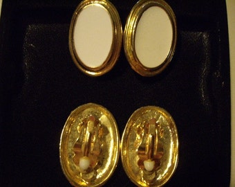 Gold and cream clip earrings