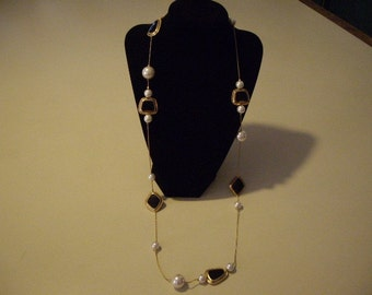 Vintage gold and faux pearl and black necklace