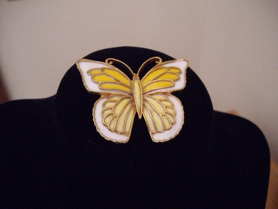 Vintage yellow and white butterfly brooch