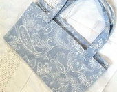 reusable grocery bag eco-friendly recycled pale blue & white print paisley print - LeahsHeart