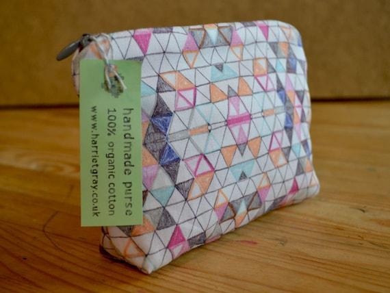 handmade 100% organic oversized cotton purse / pencil case geometric triangle design