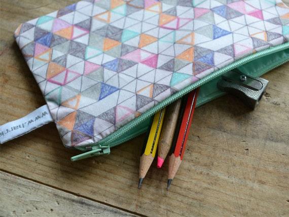 small geometric pencil case - handmade triangle pouch