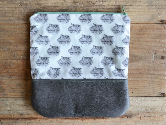 big cat pouch - soft leather - large kitty pouch - handmade