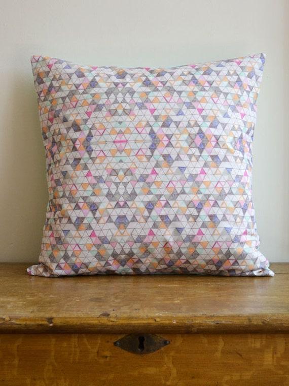 "cushion cover - 14"" geometric patterned pillow - handmade - OOAK"