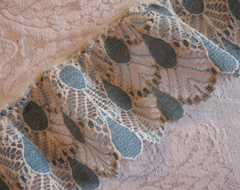 FREE SHIPPING - Cream and Blue Scalloped Lace