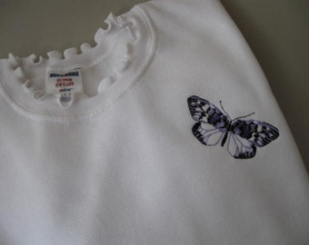 "Butterfly Embellished (""SUPER SWEATS"") Sweatshirt with Ruffled Neck - Large"