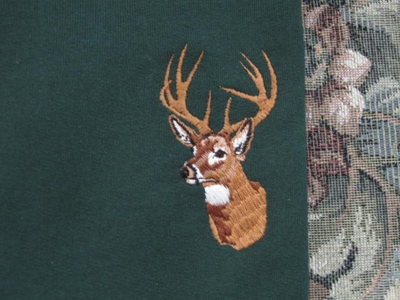 Buck Deer themed Forest Green Sweatshirt - X Large