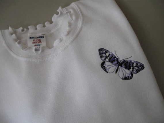 """Butterfly Embellished (""""SUPER SWEATS"""") Sweatshirt with Ruffled Neck - Large"""