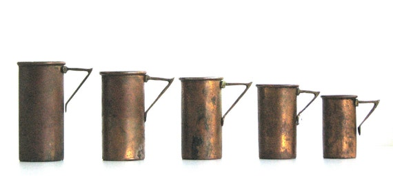 Vintage Copper Measuring Cups Set of 5 made in Italy Natural Patina-Home Decor-Shabby Chic