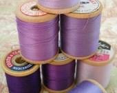 Purple Passion 7 Vintage Wooden Spools of Thread