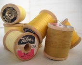 Glitters of Gold 7 Vintage Wooden Spools of Thread Gold and Yellows