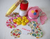 Summer Day Pink Yellow Red Lace Ribbon Buttons Pincushion and More DIY Kit