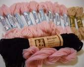 Tapestry Needlepoint and Crewel Wool Yarn Mix Pink Tan and Brown