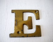 Gold Letter E Rustic Metal Assemblage or Altered Art