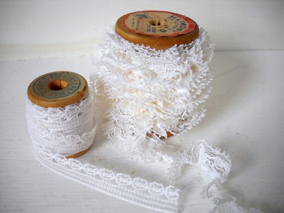 Wooden Spools of White Lace Over 1 Yard