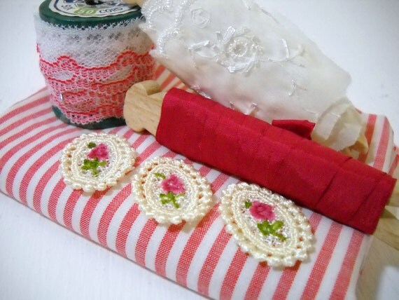 Red Wine Stripes and Roses DIY Kit - Sewing, Scrapbooking & Collage Over 5 Yards of Trim